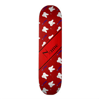 Personalized name red brushes and tooth pattern custom skateboard