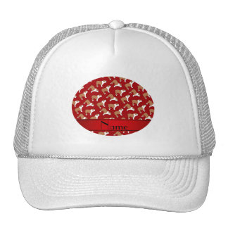 Personalized name red Bulldog Cap