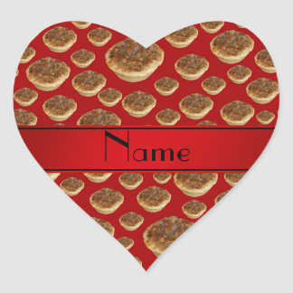 Personalized name red butter tarts heart sticker