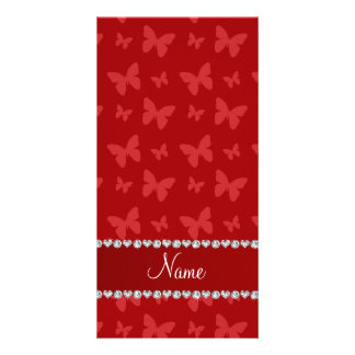 Personalized name red butterflies customised photo card