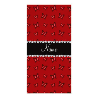 Personalized name red butterfly pattern photo cards