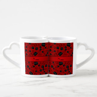 Personalized name red checkers game couple mugs