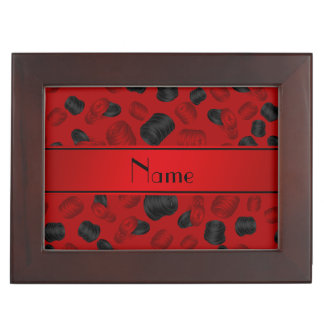 Personalized name red checkers game keepsake box