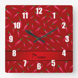 Personalized name red chili pepper clock