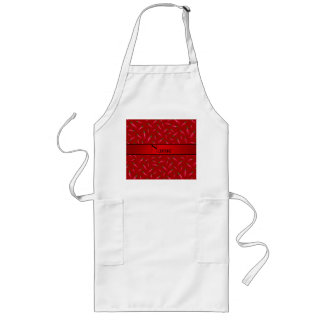 Personalized name red chili pepper long apron