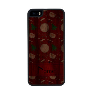 Personalized name red christmas golfing carved® walnut iPhone 5 slim case