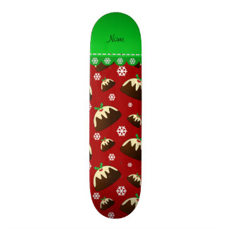 Personalized name red christmas pudding pattern skate board