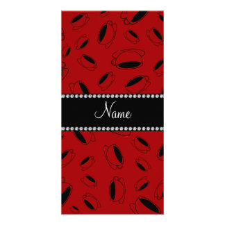Personalized name red coffee cup photo card