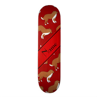 Personalized name red collie dog pattern 20.6 cm skateboard deck
