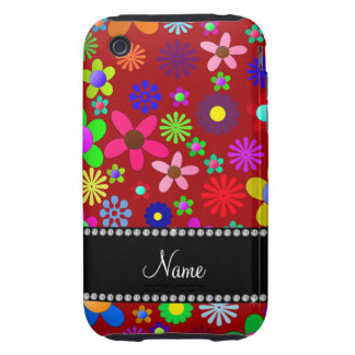 Personalized name red colorful retro flowers iPhone 3 tough cases