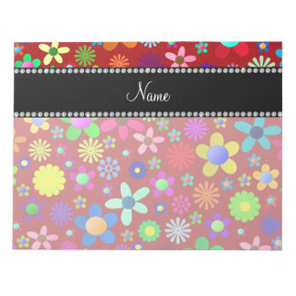 Personalized name red colorful retro flowers notepad