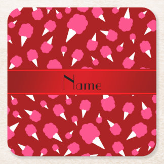 Personalized name red cotton candy square paper coaster