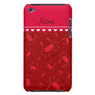 Personalized name red crab pattern barely there iPod covers