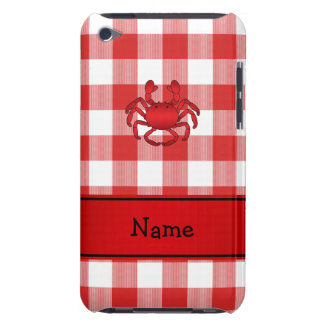 Personalized name red crab red picnic checkers iPod Case-Mate case