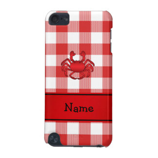 Personalized name red crab red picnic checkers iPod touch 5G cases