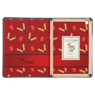 Personalized name red cricket pattern iPad air case