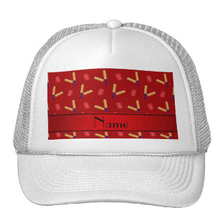 Personalized name red cricket pattern mesh hat