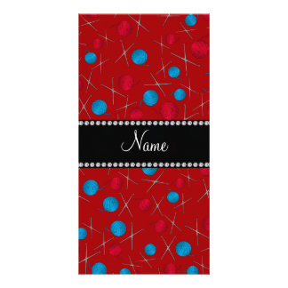 Personalized name red crochet pattern customised photo card