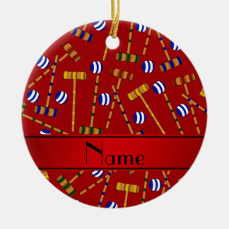 Personalized name red croquet pattern christmas ornament