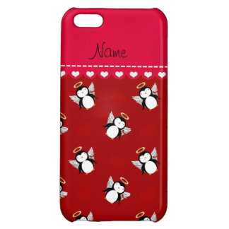 Personalized name red cupid penguins red hearts iPhone 5C covers