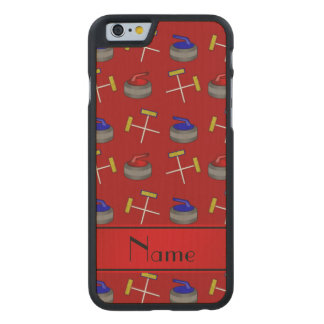 Personalized name red curling pattern carved® maple iPhone 6 slim case