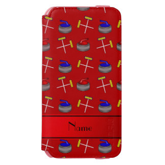 Personalized name red curling pattern incipio watson™ iPhone 6 wallet case