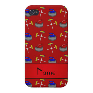 Personalized name red curling pattern iPhone 4 covers