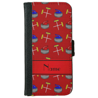 Personalized name red curling pattern iPhone 6 wallet case