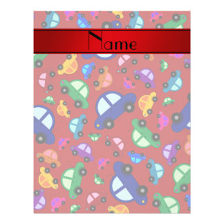 Personalized name red cute car pattern 21.5 cm x 28 cm flyer