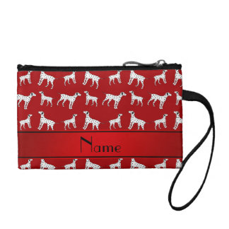Personalized name red dalmatian dogs coin wallet