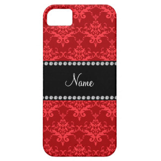 Personalized name Red damask iPhone 5 Cases