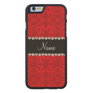 Personalized name red damask swirls carved® maple iPhone 6 case