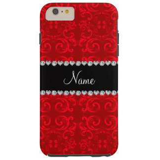 Personalized name red damask swirls tough iPhone 6 plus case