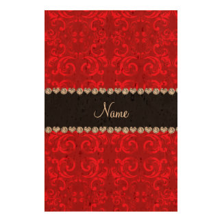 Personalized name red damask swirls queork photo prints