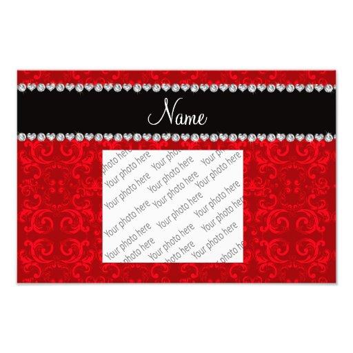 Personalized name red damask swirls art photo