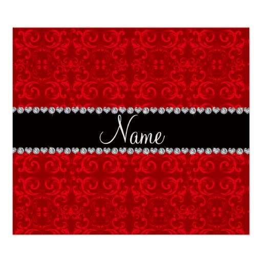 Personalized name red damask swirls print