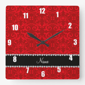 Personalized name red damask swirls square wall clock