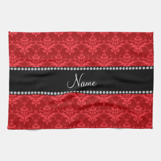 Personalized name Red damask Tea Towel