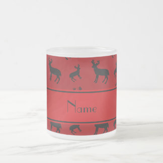 Personalized name red deer red stripe frosted glass mug