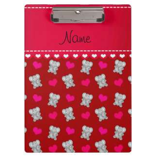 Personalized name red elephants heart pattern clipboard