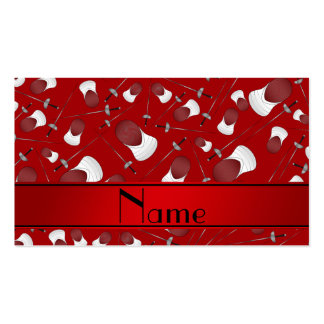 Personalized name red fencing pattern pack of standard business cards