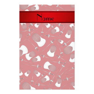 Personalized name red fencing pattern stationery