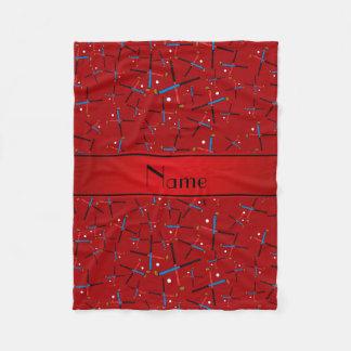 Personalized name red field hockey fleece blanket