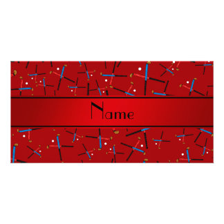 Personalized name red field hockey pattern photo cards