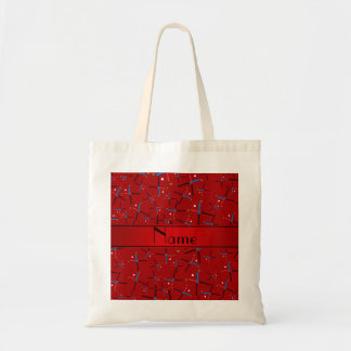 Personalized name red field hockey pattern tote bag