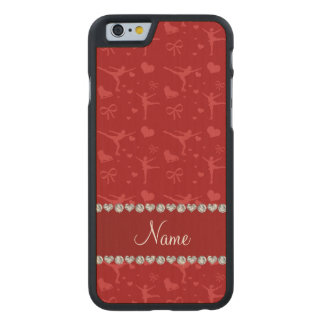 Personalized name red figure skating carved® maple iPhone 6 case