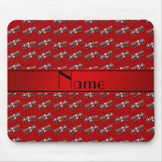 Personalized name red firetrucks mouse pads
