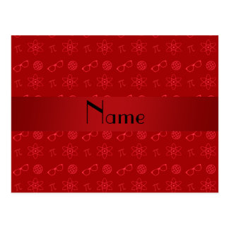Personalized name red geek pattern postcard