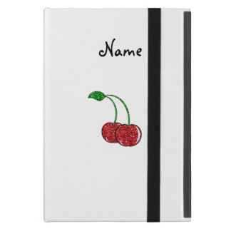 Personalized name red glitter cherry iPad mini case