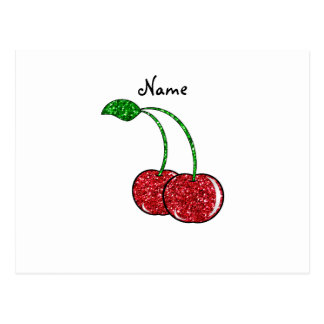 Personalized name red glitter cherry postcard